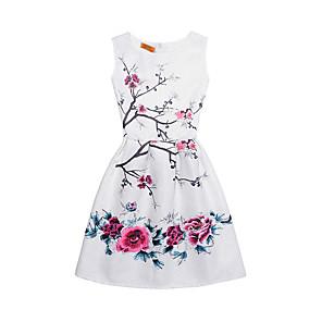 cheap Girls' Dresses-Kids Girls' Street chic Daily Going out Print Sleeveless Dress White / Cotton / Cute