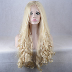 cheap Synthetic Lace Wigs-Synthetic Lace Front Wig Natural Wave Natural Wave Lace Front Wig Blonde Long Blonde Synthetic Hair Women's African American Wig Blonde