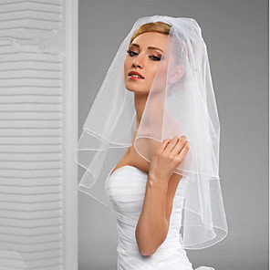 cheap Wedding Veils-Two-tier Cut Edge / Veil Wedding Veil Elbow Veils with Ruffles / Rattan Tulle / Classic