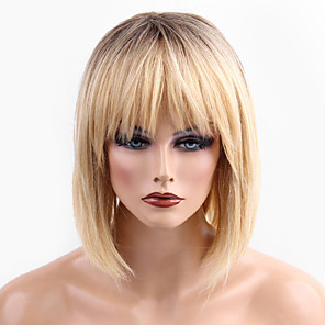 cheap Synthetic Lace Wigs-Human Hair Blend Wig Medium Length Straight Short Hairstyles 2020 Straight Ombre Hair Dark Roots Machine Made Women's Natural Black #1B Medium Auburn#30 Yellow 14 inch