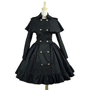 cheap Lolita Dresses-Punk Lolita Rococo Dress Women's Girls' Japanese Cosplay Costumes Black Solid Colored Long Sleeve Knee Length / Punk Lolita Dress