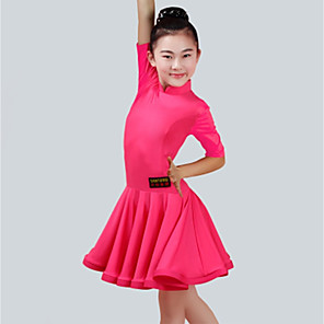 cheap Latin Dancewear-Latin Dance Dress Ruching Girls' Performance Half Sleeve Spandex