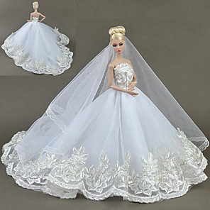 cheap Dolls Accessories-Doll accessories Doll Clothes Doll Dress Wedding Dress Party / Evening Wedding Ball Gown Embroidery Solid Color Tulle Lace Cotton Blend For 11.5 Inch Doll Handmade Toy for Girl's Birthday Gifts  Doll