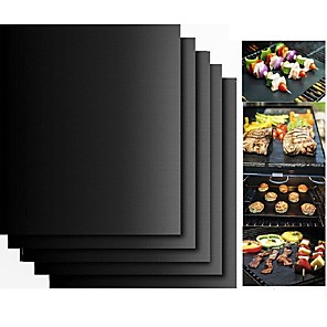 cheap Baking & Pastry Tools-2pcs Thick ptfe Barbecue Grill Mat non-stick Reusable BBQ Grill Mats Sheet Grill Foil BBQ Liner