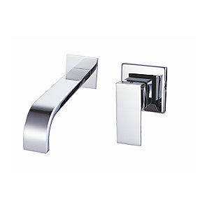cheap Bathroom Sink Faucets-Bathroom Sink Faucet - Waterfall Chrome Wall Mounted Single Handle Two HolesBath Taps