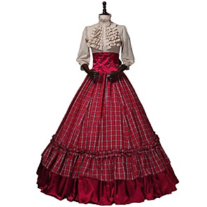 cheap Historical & Vintage Costumes-Victorian Renaissance Costume Women's Outfits Red+Golden Vintage Cosplay 50% Cotton / 50% Polyester 3/4 Length Sleeve Puff / Balloon Sleeve