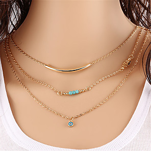cheap Necklaces-Women's Turquoise Layered Necklace Layered Evil Eye Bohemian Multi Layer Alloy Gold Necklace Jewelry One-piece Suit For Date Street