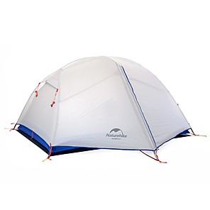 cheap Tents, Canopies & Shelters-Naturehike 2 person Backpacking Tent Outdoor Windproof Rain Waterproof Quick Dry Double Layered Poled Dome Camping Tent >3000 mm for Nylon Coated Fabric 210*135*100 cm