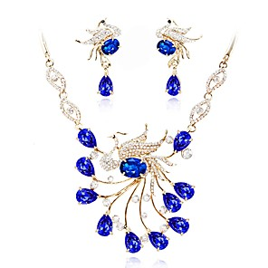 cheap Jewelry Sets-Women's Crystal Jewelry Set Bridal Jewelry Sets Classic Fashion Crystal Gold Plated Earrings Jewelry Blue For Wedding Evening Party