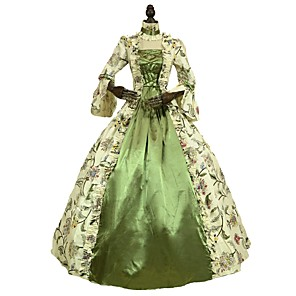 cheap Historical & Vintage Costumes-Rococo Victorian 18th Century Dress Women's Costume Green Vintage Cosplay 3/4-Length Sleeve Floor Length Long Length Ball Gown Plus Size Customized