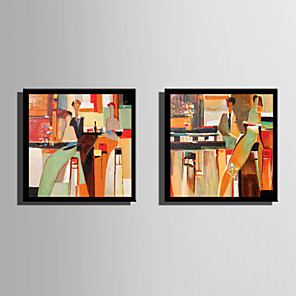 cheap Framed Arts-Framed Canvas Framed Set - Abstract People Plastic Illustration Wall Art