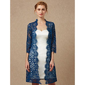 cheap Wedding Wraps-3/4 Length Sleeve Coats / Jackets Lace Wedding / Party / Evening Women's Wrap With Lace