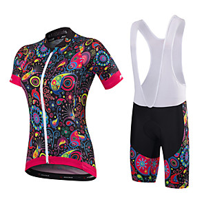 cheap Cycling Jersey & Shorts / Pants Sets-Malciklo Women's Short Sleeve Cycling Jersey with Bib Shorts Black Orange+White White Floral Botanical Plus Size Bike Clothing Suit Breathable 3D Pad Quick Dry Anatomic Design Sports Bamboo-carbon