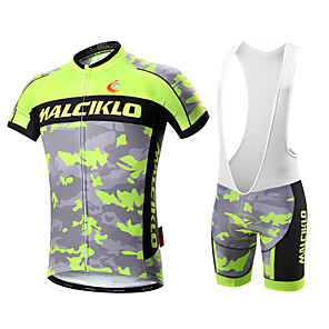 cheap Cycling Jersey & Shorts / Pants Sets-Malciklo Men's Short Sleeve Cycling Jersey with Bib Shorts White Black Camo / Camouflage Bike Clothing Suit Breathable 3D Pad Quick Dry Back Pocket Sports Coolmax® Lycra Camo / Camouflage Mountain