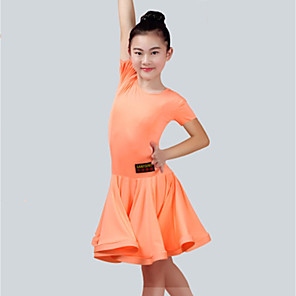 cheap Latin Dancewear-Latin Dance Dress Ruching Girls' Performance Short Sleeve Spandex