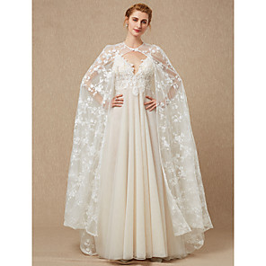 cheap Wedding Wraps-Sleeveless Lace Wedding / Party / Evening Women's Wrap With Buttons / Lace Capes