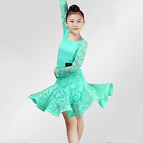 cheap Latin Dancewear-Latin Dance Dress Lace Ruching Girls' Performance Long Sleeve Spandex Lace
