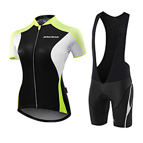 cheap Triathlon Clothing-Malciklo Women's Short Sleeve Cycling Jersey with Bib Shorts Pink White / Black Black / Green Solid Color Bike Jersey Breathable Anatomic Design Sweat-wicking Sports Polyester Spandex Coolmax® Solid