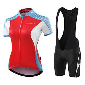 cheap Triathlon Clothing-Malciklo Women's Short Sleeve Cycling Jersey with Bib Shorts Red / White Black / Red Geometic Leaf Bike Jersey Bib Tights Padded Shorts / Chamois Breathable Anatomic Design Reflective Strips