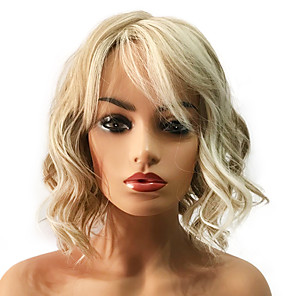 cheap Synthetic Trendy Wigs-Synthetic Wig Curly Curly Layered Haircut Wig Blonde Medium Length Light golden Synthetic Hair Women's Highlighted / Balayage Hair Blonde StrongBeauty