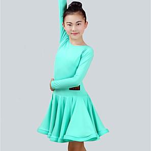 cheap Kids' Dancewear-Latin Dance Dress Ruching Girls' Performance Long Sleeve Spandex