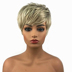 cheap Human Hair Capless Wigs-Synthetic Wig Straight Straight Pixie Cut Wig Blonde 13cm(Approx5inch) Blonde Synthetic Hair Blonde StrongBeauty