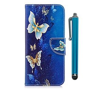 cheap Other Phone Case-Case For LG LG K10 (2017) / LG K8 / LG K7 Wallet / Card Holder / with Stand Full Body Cases Butterfly Hard PU Leather