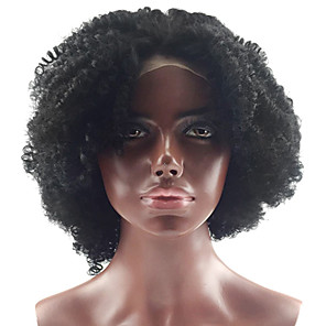 cheap Human Hair Wigs-Human Hair Glueless Lace Front Lace Front Wig style Brazilian Hair Kinky Curly Wig 130% Density with Baby Hair Natural Hairline African American Wig 100% Hand Tied Women's 10 inch 12 inch 14 inch