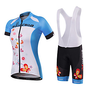 cheap Cycling Jersey & Shorts / Pants Sets-Malciklo Women's Short Sleeve Cycling Jersey with Bib Shorts Black / Blue White+Sky Blue Butterfly Bike Jersey Bib Tights Clothing Suit Breathable Quick Dry Anatomic Design Reflective Strips Back