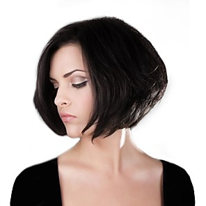 cheap Synthetic Lace Wigs-Human Hair Capless Wigs Human Hair Straight Bob / Short Hairstyles 2019 Natural Hairline Machine Made Wig