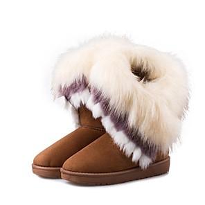 cheap Women's Boots-Women's Boots Flat Heel Fur / Fleece Mid-Calf Boots Fashion Boots Winter Brown / Green / Pink / EU39