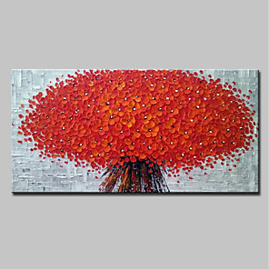 cheap Abstract Paintings-Oil Painting Hand Painted - Floral / Botanical 3D Modern Stretched Canvas