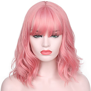 cheap Synthetic Lace Wigs-Synthetic Wig Water Wave Kardashian Water Wave With Bangs Wig Pink Short Dark Blonde Golden Blonde Blonde Pink Ombre Pink Synthetic Hair Women's Natural Hairline With Bangs Pink