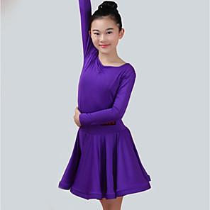 cheap Latin Dancewear-Latin Dance Dress Ruching Girls' Performance Long Sleeve Spandex