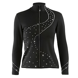 cheap Ice Skating Dresses , Pants & Jackets-Figure Skating Fleece Jacket Women's Girls' Ice Skating Jacket Tracksuit Black Stretchy Training Competition Skating Wear Dot Long Sleeve Ice Skating Winter Sports Figure Skating