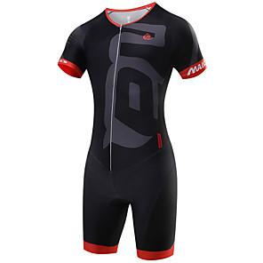 cheap Triathlon Clothing-Malciklo Men's Short Sleeve Triathlon Tri Suit Red Green Blue Geometic British Bike Breathable Quick Dry Sports Coolmax® Lycra Geometic Clothing Apparel / High Elasticity / SBS Zipper