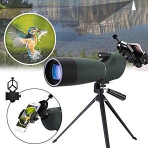 cheap Flashlights & Camping Lanterns-20-60 X 60 mm Monocular Spotting Scope Porro Zoomable Night Vision in Low Light High Definition Compact Fully Multi-coated BAK4 Camping / Hiking Hunting Fishing Rubber silicon Waterproof Fabric / Yes