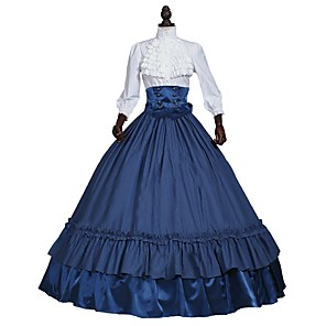 cheap Historical & Vintage Costumes-Victorian Costume Women's Outfits White+Blue Vintage Cosplay 50% Cotton / 50% Polyester 3/4-Length Sleeve Puff / Balloon Sleeve