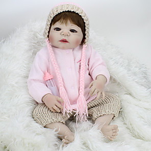 cheap Reborn Doll-NPK DOLL 22 inch Reborn Doll Baby Reborn Baby Doll lifelike Cute Hand Made Child Safe Non Toxic 55cm with Clothes and Accessories for Girls' Birthday and Festival Gifts / Kid's / Lovely
