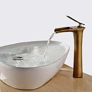 cheap Vessel Sinks-Bathroom Sink Faucet - Waterfall Antique Brass Centerset Single Handle One HoleBath Taps