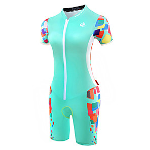 cheap Triathlon Clothing-Malciklo Women's Short Sleeve Triathlon Tri Suit Mint Green Bike Breathable Anatomic Design Reflective Strips Sweat-wicking Sports Polyester Spandex Coolmax® Geometry Clothing Apparel / Lycra