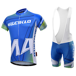 cheap Cycling Jerseys-Malciklo Men's Short Sleeve Cycling Jersey with Bib Shorts Yellow Red Green Geometic British Bike Clothing Suit Breathable 3D Pad Quick Dry Back Pocket Sports Coolmax® Lycra Geometic Mountain Bike