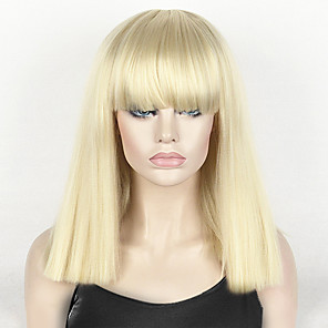 cheap Synthetic Trendy Wigs-Synthetic Wig Straight kinky Straight kinky straight Straight Bob Short Bob With Bangs Wig Blonde Medium Length Light Blonde Synthetic Hair Women's Blonde StrongBeauty