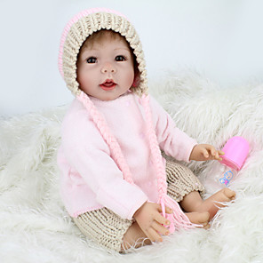 cheap Reborn Doll-NPK DOLL 22 inch Reborn Doll Baby Reborn Baby Doll lifelike Cute Hand Made Child Safe Non Toxic Cloth 3/4 Silicone Limbs and Cotton Filled Body 55cm with Clothes and Accessories for Girls' Birthday