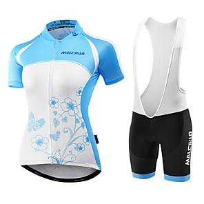 cheap Cycling Jersey & Shorts / Pants Sets-Malciklo Women's Short Sleeve Cycling Jersey with Bib Shorts - Light Blue / Blue / Black Bike Jersey / Bib Tights / Padded Shorts / Chamois, Breathable, Anatomic Design, Ultraviolet Resistant, UV