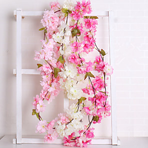 cheap Artificial Plants-Artificial Flowers 1 Branch Wedding European Sakura Wall Flower