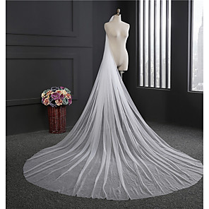 cheap Wedding Veils-One-tier Classical Wedding Veil Cathedral Veils with Fringe Tulle