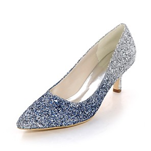 cheap Wedding Shoes-Women's Heels Glitter Crystal Sequined Jeweled Stiletto Heel Pointed Toe Paillette Basic Pump Spring / Summer Fuchsia / Blue / Black / 2-3 / Party & Evening