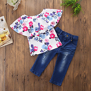 cheap Kids Collection Under $8.99-Toddler Girls' Casual Active Daily Going out Floral Stylish Floral Printing Short Sleeve Regular Regular Clothing Set Blue / Ripped