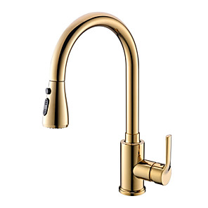 cheap Kitchen Faucets-Pullout Spray Kitchen faucet - Single Handle One Hole Ti-PVD Pull-out / ­Pull-down / Tall / ­High Arc Centerset Contemporary / Ordinary Kitchen Taps
